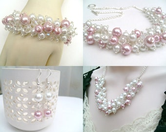 Pink and White Pearl Crystal Beaded Jewelry Set, Necklace Bracelet and Earrings, Cluster Jewelry, Pink Wedding Set Bridesmaids Gifts, Chunky