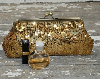 Gold Bride Purse, Bridal Clutches, Bridesmaids Gifts, Gold Bridesmaid Clutches Personalized Clutches Wedding -  Gold Ivory Sequin Clutch