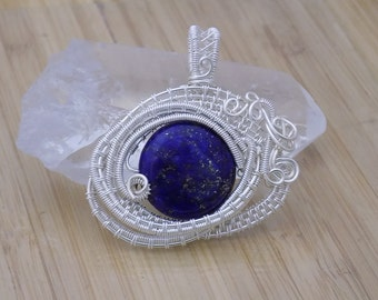 Blue Lapis Lazuli Pendant Bead Wire Wrap Pendant Wire Wrapped Silver Wire Eye Pendant Wire Wrapped Jewelry Handmade Scifi Amulet Medallion