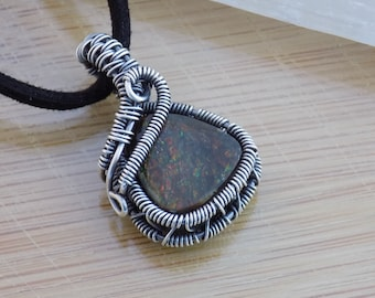 Ammolite Fossilized Ammonite Pendant Oxidized Sterling Silver Wire Wrapped Jewelry Iridescent Flash Stone Scifi Boho or Crystal Healing