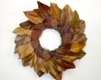 Bronze rust cinnamon magnolia lemon leaf preserved wreath
