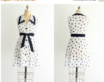 ON SALE 70s polka dot dress | vintage 1970s layered a line navy and white polka dot dress | xs - small