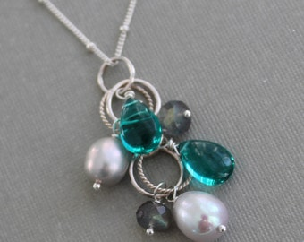 Gray Pearl and Teal Gemstone Drop Pendant, Multi Gemstone Necklace