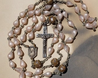 Vintage Rosary Chain Lucite Beads Sterling Cross
