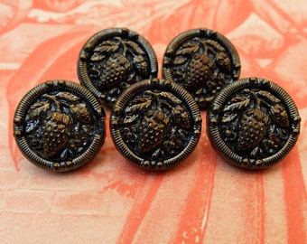 Antique Buttons Victorian Black Glass Strawberry