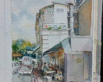 Old coffee shop, Asia, 5x7 original watercolor, not a print, id208401, shop house, singapore, street scene, wallart, landscape
