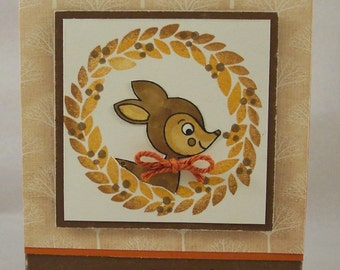 Deer Greeting Card - Thank You Card - Woodland Note Card - Deer Card - Deer and Wreath Card - Hand Stamped Fall Card