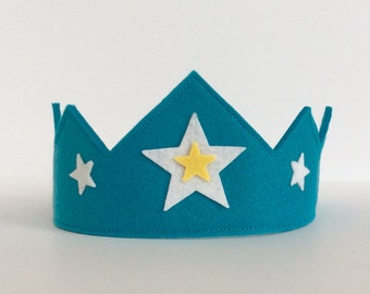 Wool Felt Crown -- turquoise with white and yellow stars