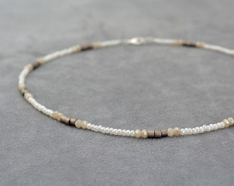 Thin beaded Bohemian necklace with silver 925 clasp, Ombre Boho Choker, Beaded choker, Short Simple minimalist necklace, Chocker necklace