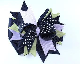 Boutique Hair Bow Clip Navy and Lavendar Bow