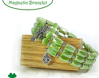Magnetic Bracelet - Green Celtic Bracelets - Memory Wire Bracelet -  MB2015-06