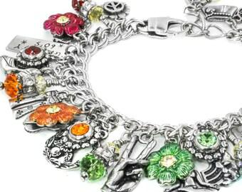 Boho Charm Bracelet - 1960's Jewelry - Sixties Jewelry - Hippy Jewelry - Retro Charm Bracelet - Sixties Bracelet