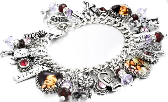 Custom Charm Bracelet, Stainless Steel Charm Bracelet, Personalized Jewelry, choose your own charms and picture or quote, Personalized Charm