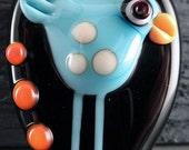 Blue Bird Handmade Focal Glass Pendant Lampwork Bead by Laurie Geller...NIGHT BIRD ...SRA