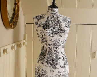 Toile de Jouy Mannequin French Inspired Display Dressform Home Bedroom Decor