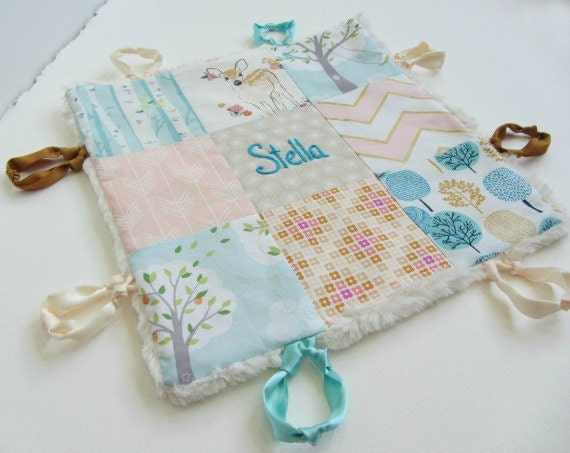 Baby Lovey Girl Blanket with Custom Hand Embroidery Name Or Initial ~ Choice of Backing Fabric ~ Aqua Peach Beige Gold ~ Baby Deer Trees ~