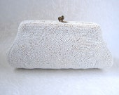 DARLING Beaded Purse Small Vintage 1940s Glass Bead Clutch Hand Made Belgium Pure White Micro Beads Kiss Clasp Coin Wedding Bridal Formal