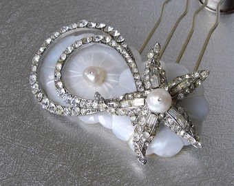 Starfish Bridal Hairpiece Jeweled Rhinestone Hair Comb Vintage Jewelry Mother Of Pearl Headpiece Shell Beach Wedding Bohemian Chic Bride