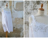 Vintage Antique old French Edwardian white cotton dress underdress nightgown handmade floral embroiderys  size M/L