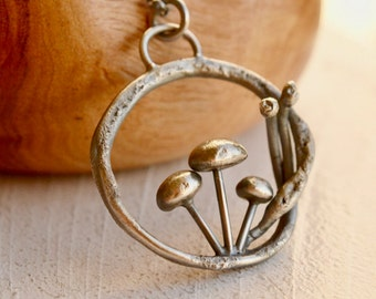 Silver Mushroom Necklace, Organic Style Silver Pendant, Funghi Pendant, Woodland Metalwork, Organic Hand Cast Silver,Twig, Handmade, Unique
