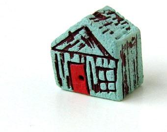 Handmade Clay Blue House Bead