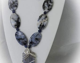 Blue Quartz Necklace, Earrings, and Pendant Set