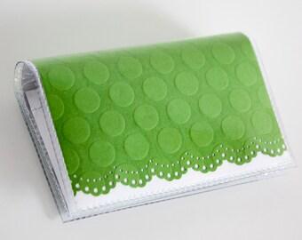 Handmade Vinyl Card Holder - Green / card case, vinyl wallet, snap, women's wallet, small wallet, polka dot, embossed, lace, doily