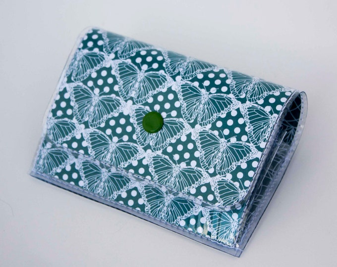 Handmade Vinyl Accordion Wallet - Butterfly Blue / small wallet, snap, cute, card case, vinyl wallet, women's wallet, butterflies, insect