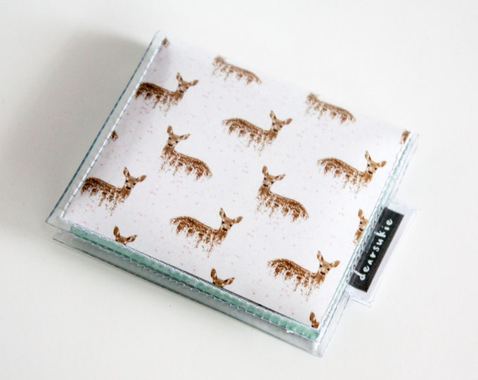 Handmade Vinyl Moo Square Card Holder - Deers on White / case, vinyl, snap, wallet, paper, mini card case, moo case, square, deer, blue
