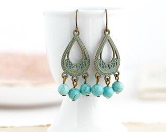 Chandelier Earrings - Bohemian Earrings - Gypsy Earrings - Patina Earrings - Green Earrings - Turquoise Jewelry - Long Dangle Earrings