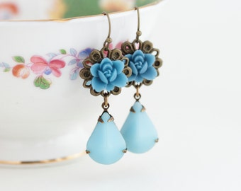 Blue Flower Earrings - Blue Wedding Jewelry - Drop Earrings - Blue Jewel Earrings - Shabby Chic Earrings - Gift For Woman - Gift For Her