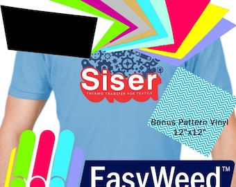 "SISER EasyWeed Heat Transfer Vinyl, 12 x 15"" 12-Color Starter BUNDLE Solid Colors, Great variety!"