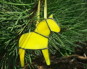 Solid Yellow Dala Horse Ornament, Swedish Christmas Ornament, Tiffany Style Stained Glass Horse, Swedish Custom