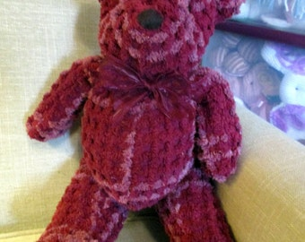 Teddy bear stuffed animal made from Vintage Chenille bedspread