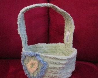 Vintage Chenille Bedspread Easter Basket