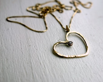 18k Yellow Gold Heart Pendant with Black Diamond