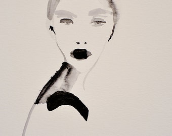 About You - Fashion Illustration Portrait Watercolor Giclee Art Print, Sketchbook Series