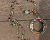 Vintage Italian mini mosaic and gemstone one of a kind repurposed necklace