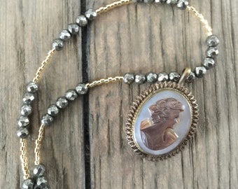 Antique repurposed one of a kind silver and gold antique cameo mother of pearl pendant necklace
