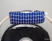 Cute NEW DESIGN Navy Anchors and Grey Chevron REVERSIBLE Car Seat Handle Arm Pad with Hand Grip
