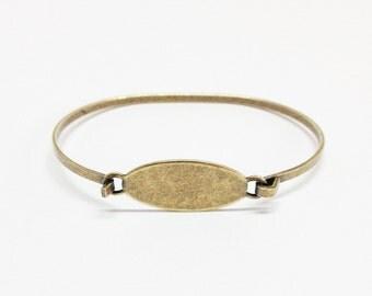 Bangle Bracelet Blank - MED-LARGE Brass Ox (oxidized) OVAL Hinge Top Stampable Stackable Cuff Bangle Bracelet Blank Base
