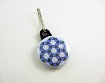 Quilting Design, Blue, Zipper Pull, Zipper Charm