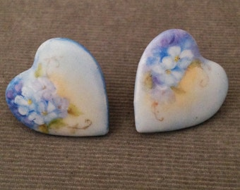 Beautiful, Romantic Hand Painted Victorian Porcelain, Ceramic Ladies Cuff Links, Hearts and Flowers