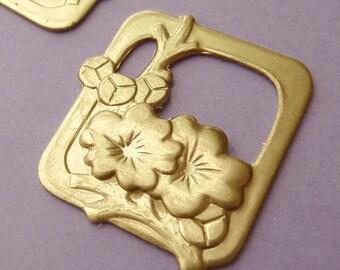 6 Brass Floral Pendant Connectors Art Deco
