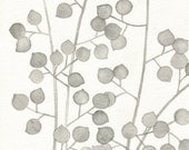 Plant Pattern Botanical Grey Leaves Watercolor Painting / Fine Art Archival Giclee Print  8x10 11x14
