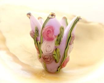 Lavender Flower Handmade Lampwork Bead Pair