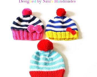Final Sale!! As is THREE Nautical inspired NEWBORN size Hats, Pom Pom hats, newborn hats, baby shower gift, Bow hats, Sale, Beanie sale