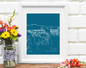 Niagara Falls Engagement Gift, Niagara New York Skyline Art Print, Personalized Wedding Bridal Shower Gift, Niagara Bride, Skyline -8x10 Art