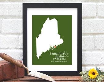 Maine Map Art, Maine State Map Print, Maine Wedding Gift, Bar Harbor, Maine, Maine State Map, Custom State Wall Art -  Art Print