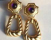Trifari Earrings, Dangle Earrings, Gold Plated Earrings, Purple Glass Stone, 90's Earrings, Braided Earrings, Etsy, Etsy Vintage